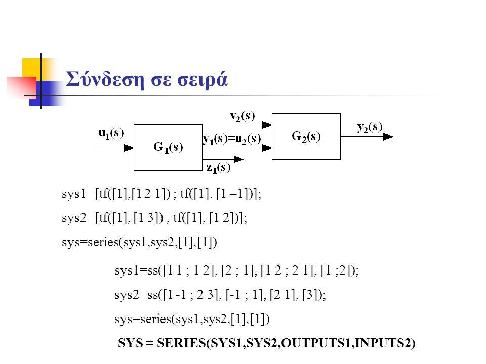 Σύνδεση σε σειρά sys1=[tf([1],[1 2 1]) ; tf([1]. [1 –1])];